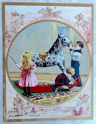 1880-90s McLaughlin's XXXX Coffee Trade Card Kids W/ Large Rocking Horse