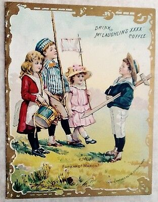 1880-90s McLaughlin's XXXX Coffee Trade Card Kids Playing Soldiers