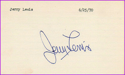 Jerry LEWIS (1923-2017) -- Comedian -- Vintage 1970 Hand-Signed Autographed Card
