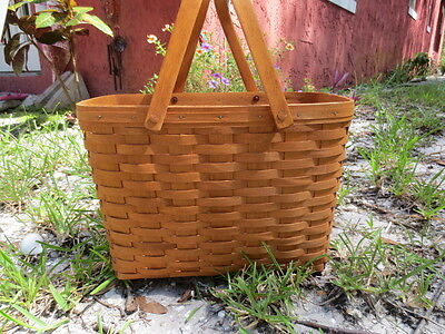 "1994 Longaberger Basket With Handles And Liner 15.5"" X 11"" X 8.5"""