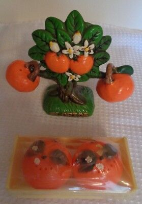 Vtge salt pepper shakers ORANGE TREE chalk ware material 3 pieces