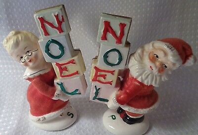Vtge salt pepper shakers NOEL Napco JAPAN Santa Claus Mrs FUZZY 4JX4087 stickers