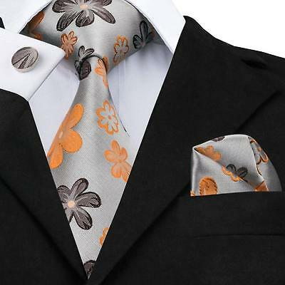 USA Classic Men's Grey Orange Floral Silk Tie Jacquard Woven Necktie Set HN-1016