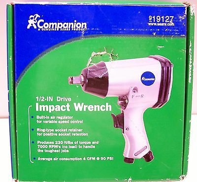 xlf13 SEARS COMPANION PNEUMATIC 1/2 INCH DRIVE IMPACT WRENCH