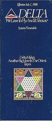 Airline Timetable - Delta - 01/07/88 - New Service to Taipei