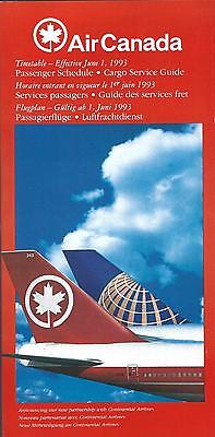 Airline Timetable - Air Canada - 01/06/93 - AC Continental Tail Livery cover