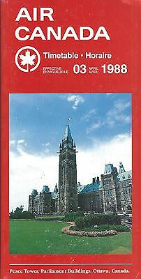Airline Timetable - Air Canada - 03/04/88 - Peace Tower Parliament Ottawa cover