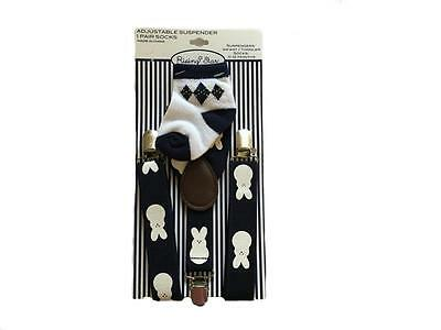 Rising Star Adjustable Suspender & Sock Set (Navy/White) Bunny