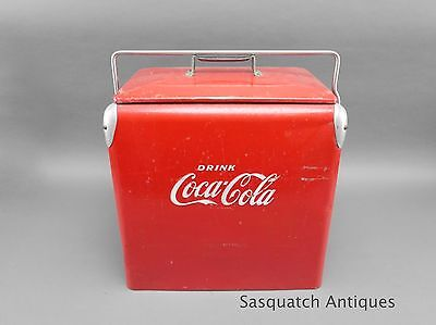 Vintage Large Acton Mfg Co Coke Coca Cola Embossed Logo Cooler With Tray