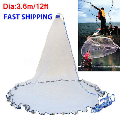"12FT 3/8"" Fishing Nylon Monofilament Mesh Cast Net Easy Throw For Hand Casting"