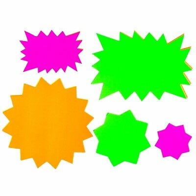 80x FLUORESCENT STAR DISPLAY TAGS Shop/Stall Front Price/Pricing/Sales Labels