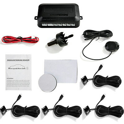 New Black 4 Parking Sensors Kit Car Backup Rear Reverse Radar System Sound Alarm