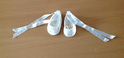 Sarah Louise newborn baby girl Christening Baptism shoes with ribbon tie