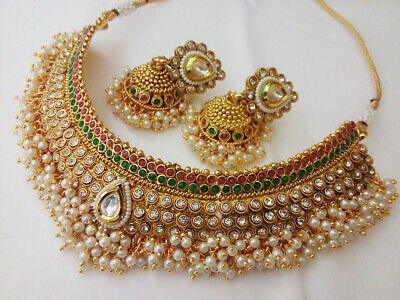 Indian Fashion Jewelry Necklace Set bollywood Ethnic Gold Pated Traditional Set