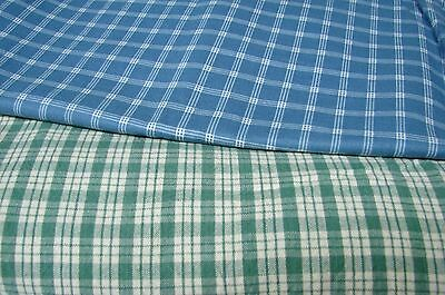 4 Yards Vintage Country Plaid Cotton Fabric Lot Of 2 Blue & Green