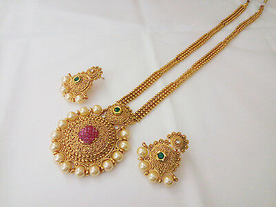 Indian Jewelry Antique Long Necklace Set bollywood Ethnic Gold Pated Traditional