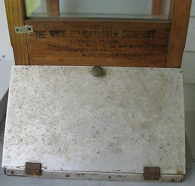 "Antique Rare Lg ""wise Potato Chip"" Country Store Bin/cabinet W/lid, Door Berwick"