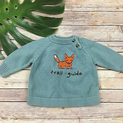 Gymboree Baby Boy Sweater Size 3-6 M Trail Guide Fox Chunky Knit Cotton Blue