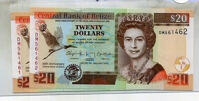 Belize $20 2012 Currency Note 5570D