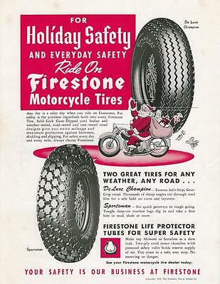 1949 Firestone Motorcycle Tires Ad: Santa Claus Riding a Motorcycle Bag of Toys