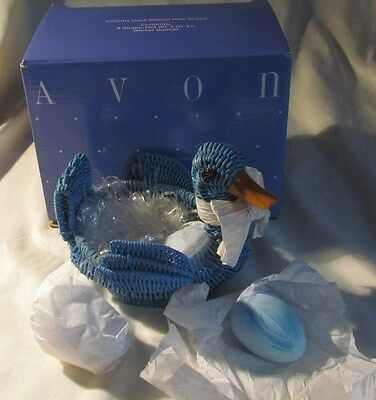 Avon Country Duck Basket Turquoise w 3 Matching Soap Eggs Wicker New Opened Box