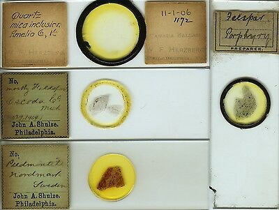 4 Mineral Thin Section Microscope Slides by Various Makers