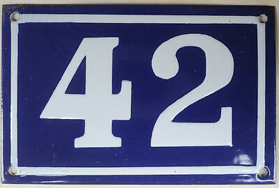 Old blue French house number 42 door gate plate plaque enamel metal sign c1950