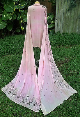 VINTAGE ART DECO EMBROIDERED JEWELED CHIFFON SHAWL C.1920s ANTIQUE