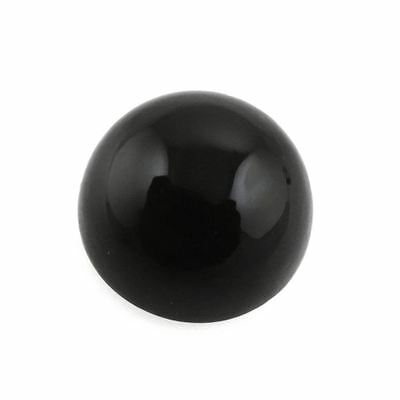 A PAIR OF 6mm ROUND CABOCHON-CUT JET-BLACK NATURAL AFRICAN ONYX GEMSTONES
