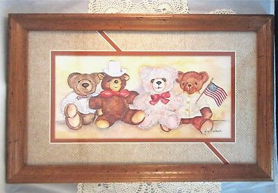 Ava Freeman Print Teddy Bears Framed Matted Signed Flag Cowboy Mint