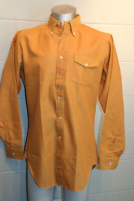 NOS MENS L Tall GOLD VTG 60s LONGFELLOW MCGREGOR L/S HIPSTER BUTTON DOWN SHIRT