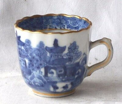 C18Th Chinese Blue And White Fluted Cup With A Temple And Bridge Pattern A/f