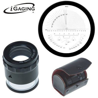iGaging Stand Measuring Magnifier Scale, Loupe 10X with LED Lighted 36-LED10