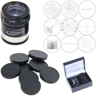 iGaging Stand Measuring Magnifier Scale LED Lighted Loupe 10X w/ 9 Reticles Incl