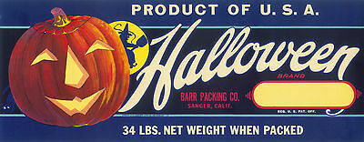 Original Crate Label Box Halloween Black Cat Vintage Rare Oversize C1950 Spooky