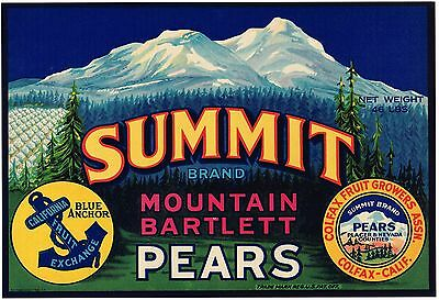 Crate Label Colfax  Vintage Summit Placer Nevada Co. 1940 Genuine Sierra Nevada