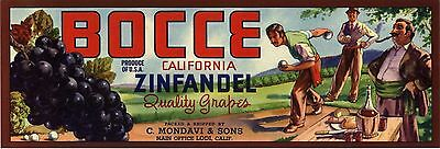 C1940S Bocce Grape Crate Label Italian American Wine Genuine Authentic Bowling