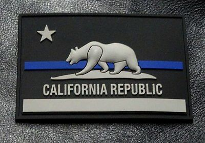 California CA State Flag thin blue line Police Swat Hook Patch (3D-PVC Rubber)