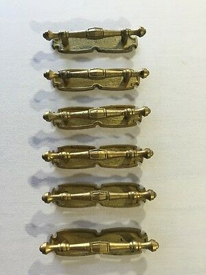 "Drawer Pulls Knobs Six 6 Cabinet Dresser Gold Metal Vintage Holes 3"" Length 5"""