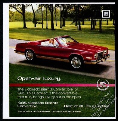 1985 Cadillac Eldorado Biarritz convertible red car photo vintage print ad
