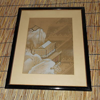 """Rare Modern Chinese Woodblock Print """"Chinese Landscape"""" (Glass Framed)"""