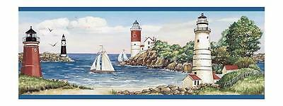 Wallpaper Border Lighthouses on Rocky Beach With Sailboats Seagulls Blue Trim