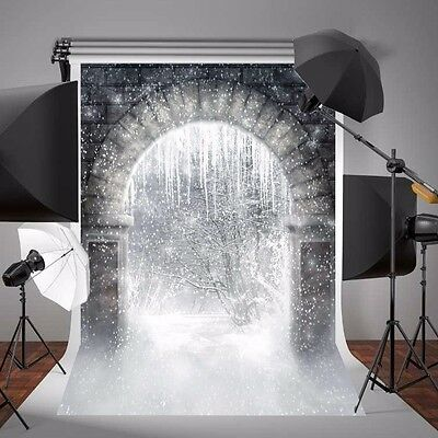 5X7FT Christmas Background Winter Snow Brick Wall Vinyl Photography Backdrop