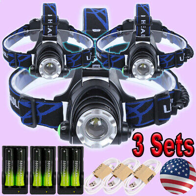 36000LM Zoomable Headlamp T6 LED Headlight Lamp Flashlight+Charger+18650battery