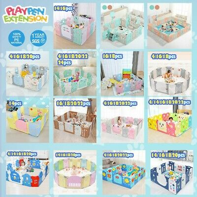 ABST Multi Sided Panel Baby Playpen Interactive Kids Toddler Room W/ Safety Gate