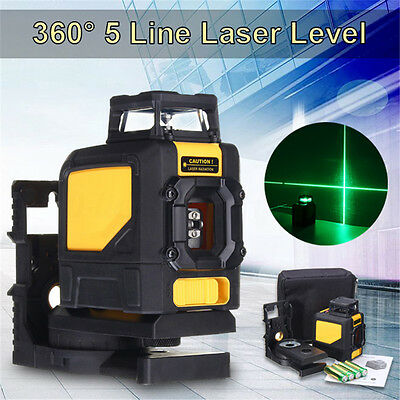 360° Rotary 5 Line Laser Self Leveling Vertical&Horizontal Level Green Measure