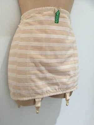 Vintage 50's UNWORN Nude Stripe Boned Girdle Corset With Suspenders Size 16