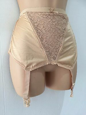 Vintage 60s 70s Nude Beige Lace Panel Corset Girdle With Suspenders Size 16-18