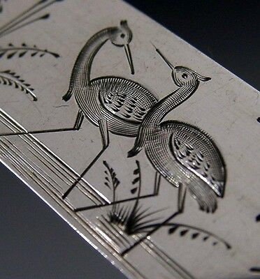 Beautiful English Sterling Silver Butter Spreader 1881 Antique Birds