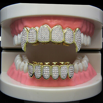 14K Gold Plated High Quality CZ Fang Top & Bottom Mouth Teeth Hip Hop Fashion